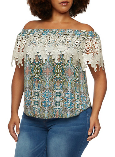 Plus Size Off-The-Shoulder Boho Top with Lace Overlay,NATURAL/BLUSH,large