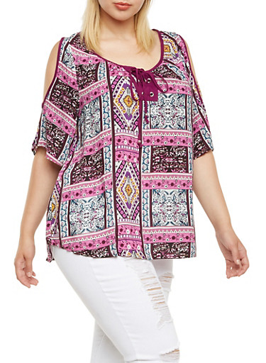 Plus Size Peasant Top with Cold Shoulders,BLUE,large