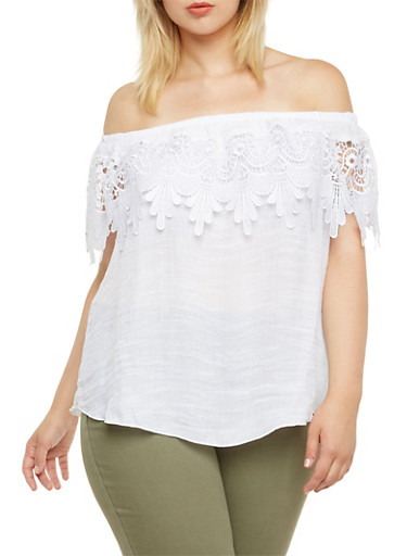Plus Size Boho Top with Crochet Overlay at Neck,WHITE,large