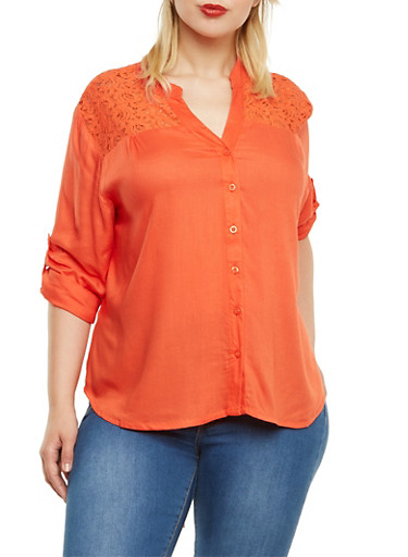 Plus Size Button-Front Shirt with Lace Panel and Drawstring,ORANGE,large