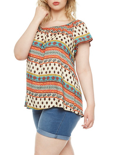 Plus Size Off-The-Shoulder Top with Ornate Print Throughout,MINT,large