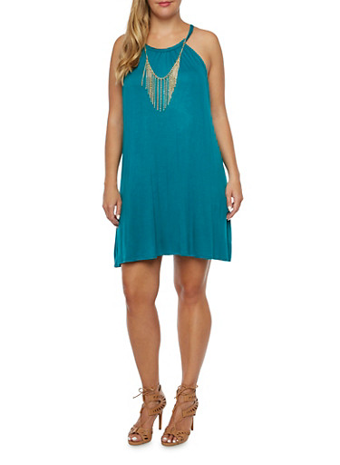 Plus Size Trapeze Dress with Chain Fringe Accent,TEAL,large