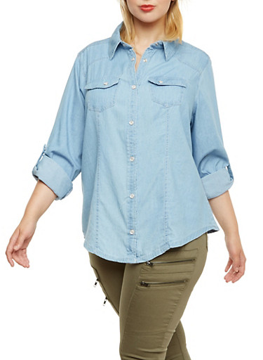Plus Size Chambray Button-Up Top with Pearlescent Buttons,LIGHT WASH,large