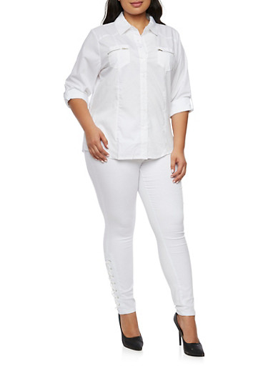 Plus Size Button Up Shirt with Zip Pockets,WHITE,large