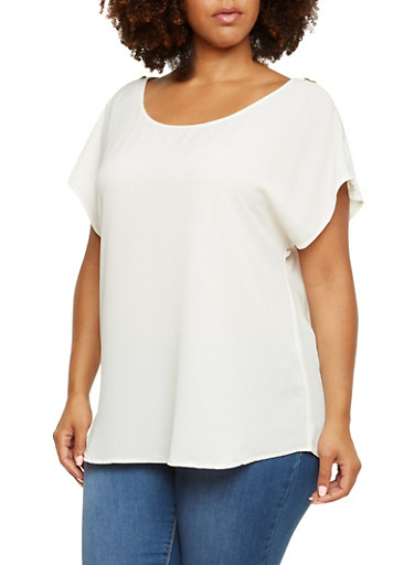 Plus Size Crepe Top with Optional Zip Cold Shoulders,IVORY,large
