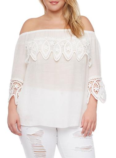 Plus Size Off the Shoulder Crochet Trim Top,OFF WHITE,large