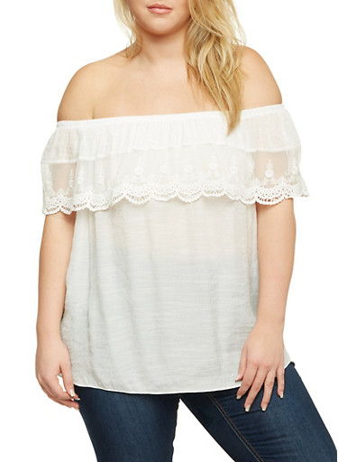 Plus Size Off the Shoulder Top with Crochet Overlay,WHITE,large