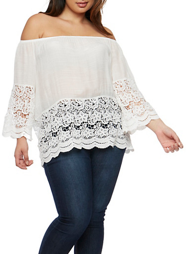 Plus Size Crochet Trim Off the Shoulder Top