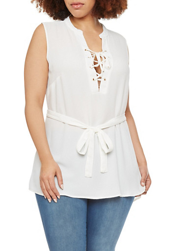 Plus Size Tunic Top with Lace Up Front,IVORY,large