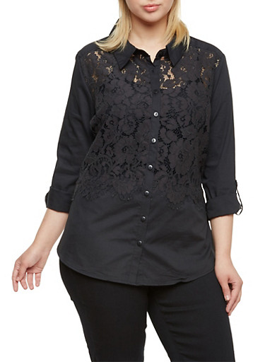 Plus Size Button Up Shirt with Lace Panel,BLACK,large