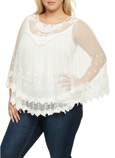 Plus Size Mesh Poncho Top with Crochet Paneling,IVORY,large