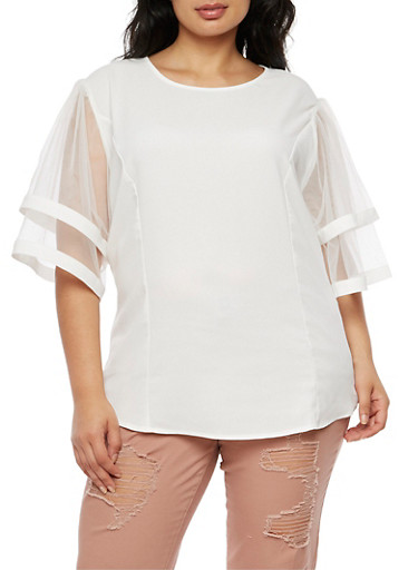 Plus Size Pleated Mesh Sleeve Top,WHITE,large