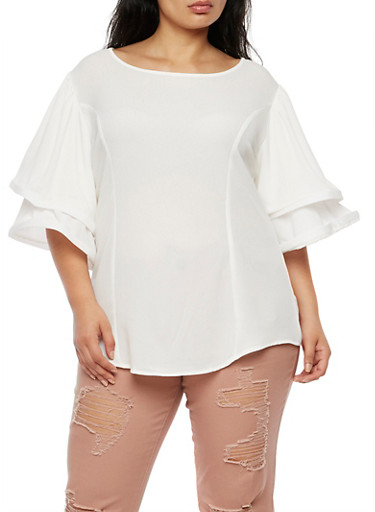 Plus Size Double Wire Sleeve Blouse,WHITE,large