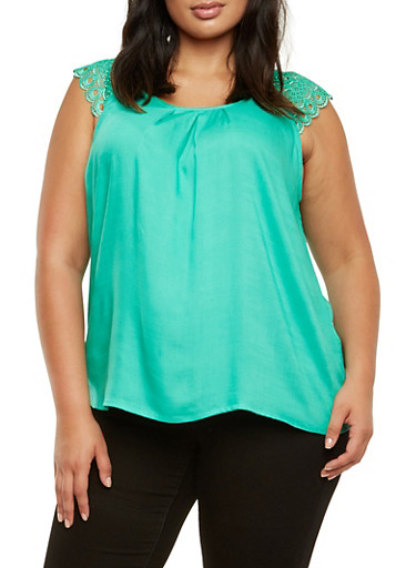 Plus Size Tank Top with Crochet Shoulders,JADE,large