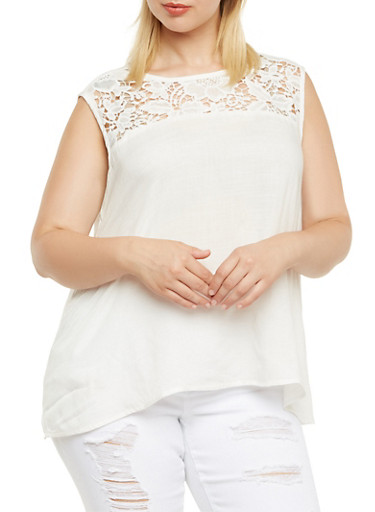 Plus Size Tank Top with Crochet Trim,WHITE,large