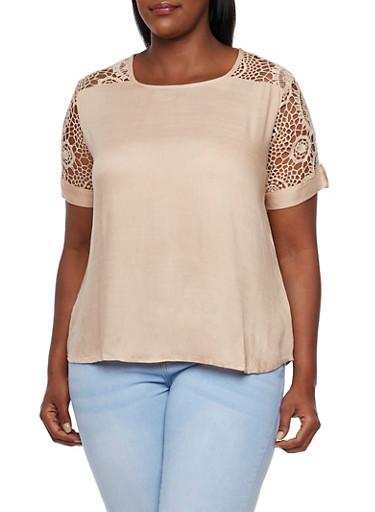 Plus Size Top with Crochet Trim,KHAKI,large