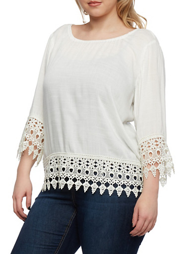 Plus Size Peasant Top with Crochet Trim,WHITE,large