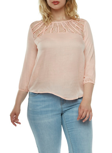 Top with Lace Contrast,CHAMPAGNE,large