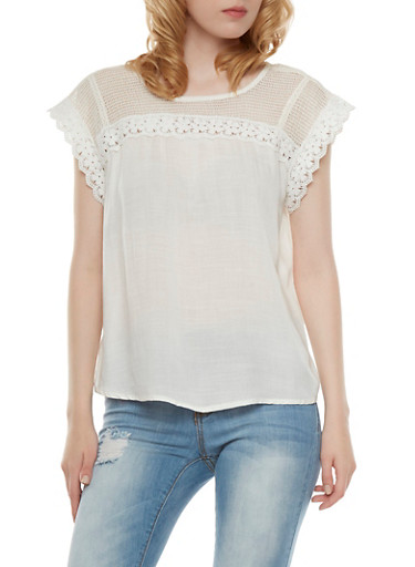 Solid Crochet Yoke Top,WHITE,large