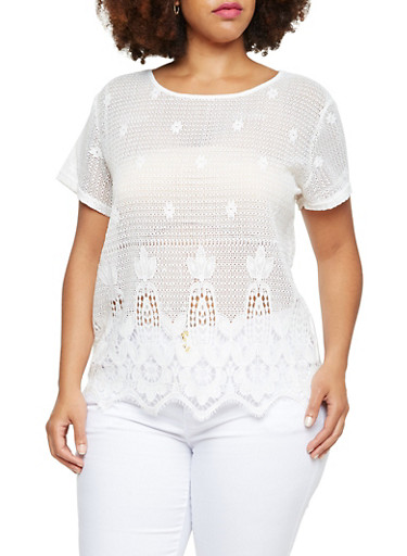 Plus Size Crochet Top with Scallop Hem,WHITE,large