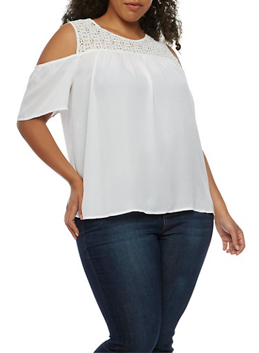 Plus Size Cold Shoulder Top with Crochet Yoke,WHITE,large