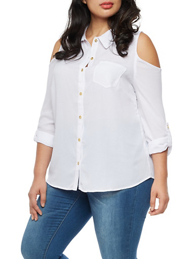 Plus Size Cold Shoulder Button Front Tab Sleeve Top,WHITE,large