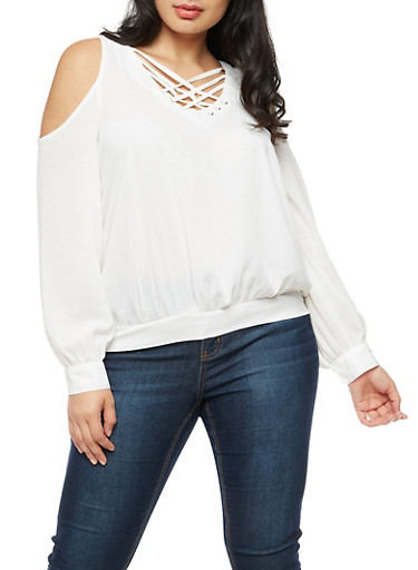 Plus Size Long Sleeve Cold Shoulder Lace Up Top,IVORY,large