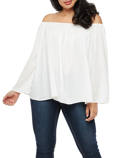 Plus Size Off The Shoulder Long Sleeve Peasant Top,IVORY,large