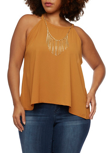 Plus Size Tulip Top with Removable Necklace,MUSTARD,large