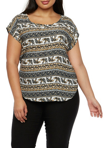 Plus Size Boho Top in Ornate Print,GRAY,large