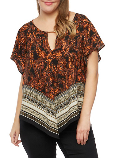 Plus Size Printed Top with Cutout,RUST/BLK,large