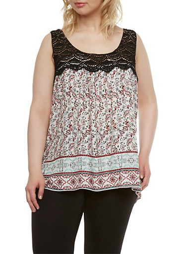 Plus Size Floral Top with Crochet Panel,IVORY,large