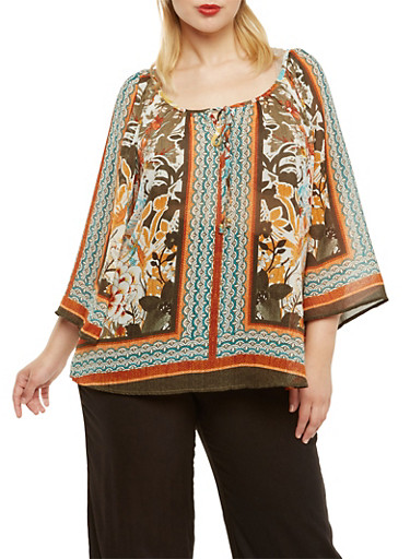 Plus Size Peasant Top in Mixed Print,MULTI COLOR,large