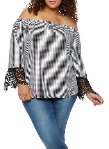 Plus Size Gingham Top with Crochet Sleeves,BLACK,large
