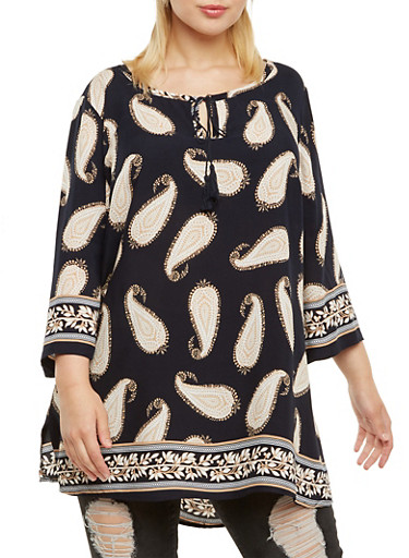 Plus Size Three-Quarter Sleeve Tunic Top with Paisley Print,NAVY,large