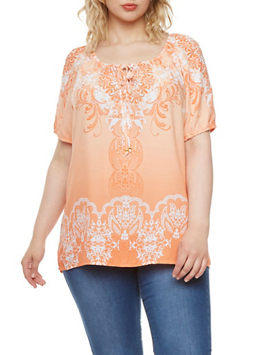 Plus Size Short Sleeve Peasant Top with Tie Neck and Ornate Print,ORANGE,large