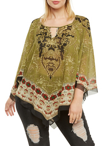 Plus Size Printed Top with Handkerchief Hem,OLIVE,large