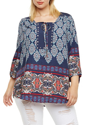 Plus Size Printed Peasant Top with Tie Neckline and Studs,BLUE,large