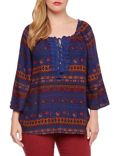 Plus Size Peasant Top with Crochet Inset,NAVY,large