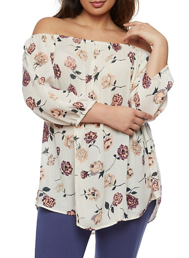 Plus Size Off the Shoulder Floral Top,PLUM,large