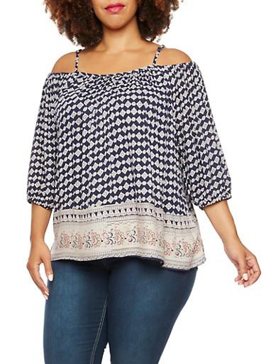 Plus Size Could Shoulder Boho Top with Contrast Hem Print,NAVY,large