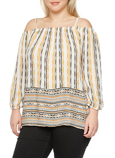 Plus Size Off-the-Shoulder Peasant Top,GOLD,large
