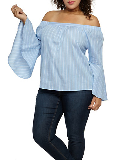 Plus Size Striped Bell Sleeve Off the Shoulder Top at Rainbow Shops in Daytona Beach, FL | Tuggl