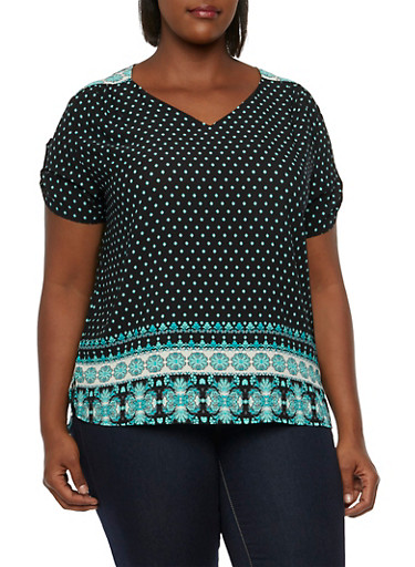 Plus Size Printed Top with High-Low Hem,MINT,large