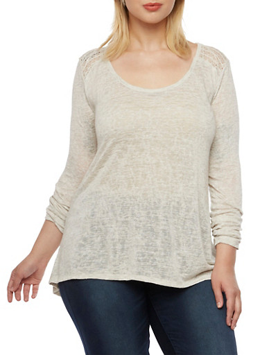 Plus Size Top with Crochet Trim and Flyaway Back,OATMEAL,large