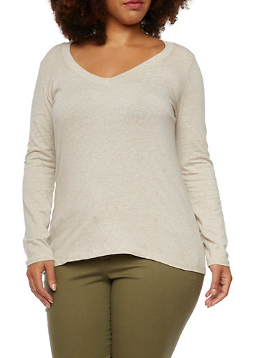 Plus Size Long Sleeve Jersey V-Neck Top,OATMEAL,large