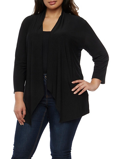 Plus Size Open Front Flyaway Cardigan,BLACK,large