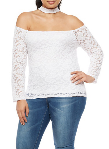 Plus Size Lace Off the Shoulder Choker Top at Rainbow Shops in Daytona Beach, FL | Tuggl