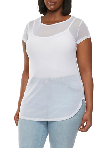 Plus Size Mesh Tunic Top with Scoop Neck,WHITE,large