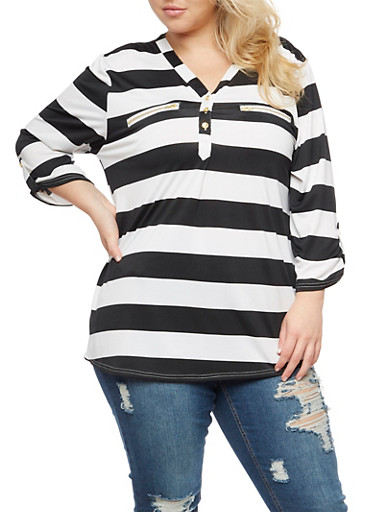 Plus Size Striped V Neck Blouse,BLACK,large